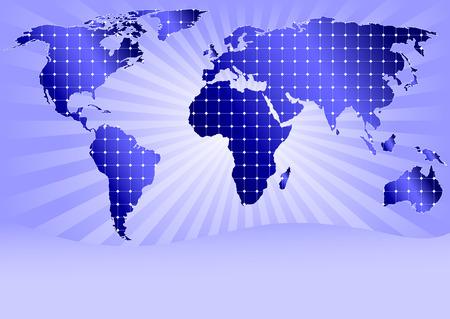 solar equipment: Mapa detallado con todos los continentes del mundo cubiertos por paneles de energ�a solar