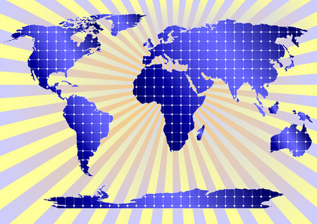 environmentalist: Detailed world map with all continents covered by solar power panels Illustration