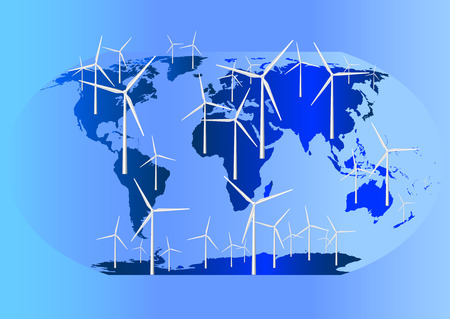 World map where all continents are covered by wind turbines Stock Vector - 4264337