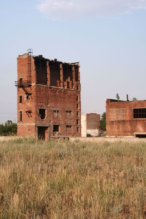 remnants of factory building of red brick photo