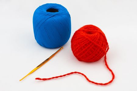 hank: kit for knitting with hook and two hank swool isolated on white background