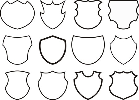 wreath vector: 12 shields and crests Illustration