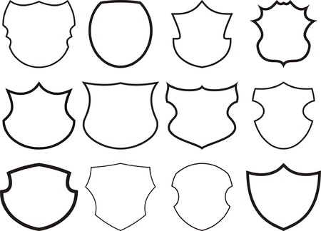 12 shields and crests Vector