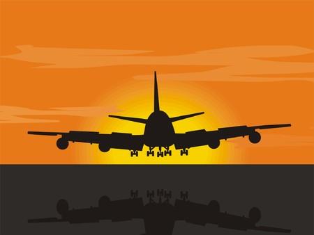 Sunset plane landing Illustration