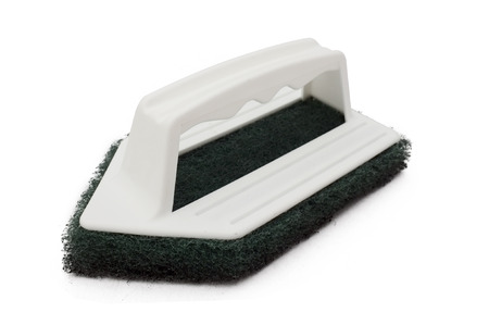 scrubber: Clean scrubber isolated on white background, green fiber scourer with plastic handle