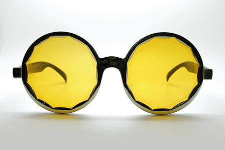 eye wear: Yellow retro  vintage glasses  eye wear, black frame Stock Photo