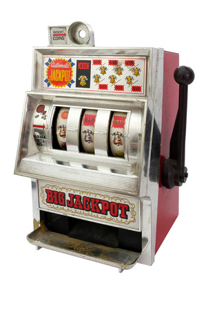 jackpot: Slot machine with three bells jackpot Stock Photo