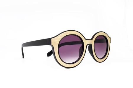 eye wear: Yellow retro, vintage glasses, eye wear, black and golden frame Stock Photo