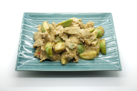 favorite soup: Fried green curry with pork and eggplant, thai food