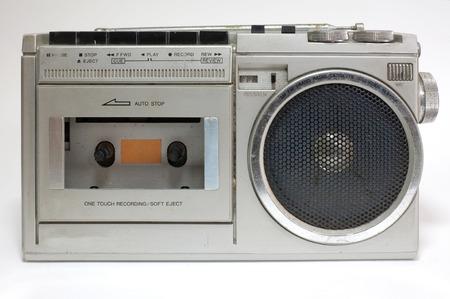 tape recorder: Retro blaster cassette tape recorder isolated on white background Stock Photo