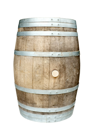 wood staves: Old wooden barrel with iron rings