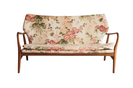 upholster: Wooden sofa upholstered in floral fabric printed, vintage style