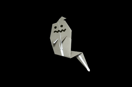 origami: Origami in shape of Ghost Stock Photo