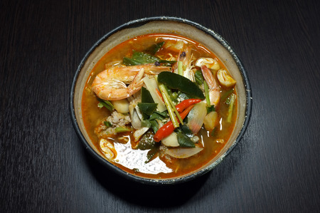 hot asian: Tom Yam, Thai traditional food, spicy noodle soup Фото со стока