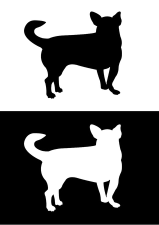 pincher: Chihuahua dog breed - silhouette vector