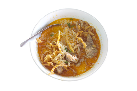 traditonal: Northern Style Curry Noodle Soup with meat, Thai food