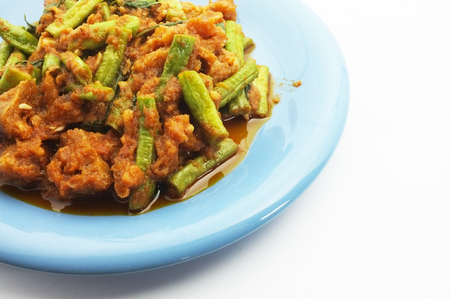 sting: Stir fried pork belly and red curry paste with sting bean , Thai food