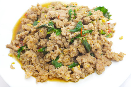 Fried Stir Basil with Minced pork , Thai food Stock Photo