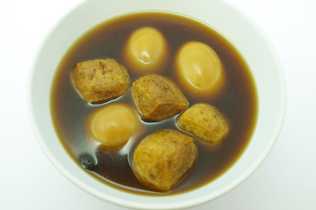 favorite soup: stewed eggs or eggs and pork in brown sauce , Thai food