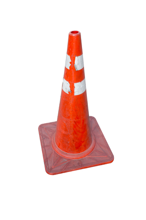boundary: Traffic cone, with white and orange stripes