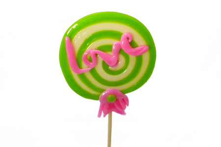 Valentines day . Love text message made of lollipop cane . Say love Stock Photo