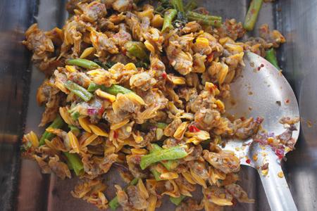 clams: Thai cuisine , Curry fried clams Stock Photo