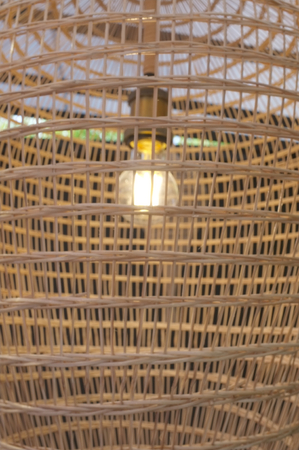 Close up Bamboo lamp Weave  Pattern , Thai traditional Weave Stock Photo