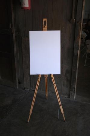 artboard: Blank white art board wooden easel, front view