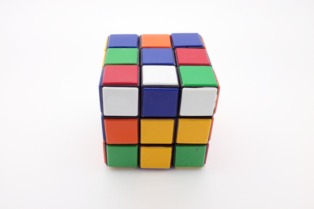 invented: Bangkok,Thailand - February -11,2017 , Rubiks Cube on white background ,Rubiks Cube is a 3-D combination puzzle invented in 1974 by Hungarian sculptor and professor of architecture Erno Rubik.