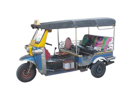 Thai auto rickshaw or tuk-tuk on white background , Concept idea travel in thailand