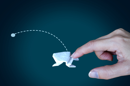 White origami frog on black background  ,Concept  Incremental Growth , Business , Giant Leap Growth  , target Banco de Imagens