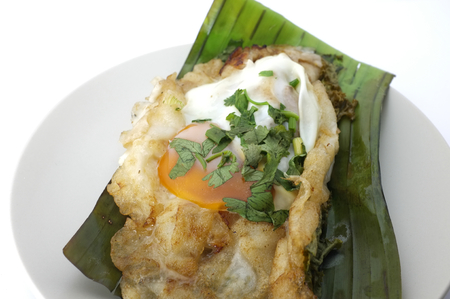 Popular Thai street food , Fried Noodles with Chicken