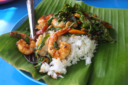 Popular street food ,Stir Fried shrimp with Tree Basil Leave by Chef Wit  at Amphoe Phra Nakhon Si Ayutthaya, Chang Wat , Phra Nakhon Si Ayutthaya