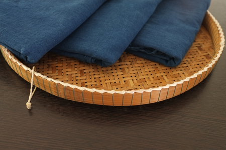 Thai traditional natural color and blue indigo dye cotton in Wicker tray