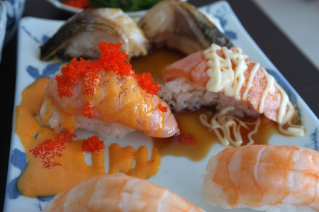 Picture for  Japanese food catalogs menu , Sushi Set gunkan, nigiri and rolls  in dish