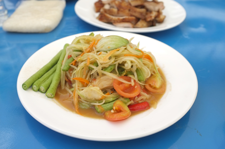 Picture for Famous Traditional spicy Thai food catalogs menu , Papaya salad or Somtum