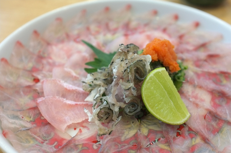 Picture for  Japanese food catalogs menu , Suzuki Usuzukuri or White Snapper sliced with Ponzu Sauce and Lemon sliced