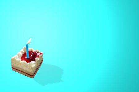 Delicious birthday cupcake on blue background, blank blue space for wording , concept Happy birthday , Happy new year