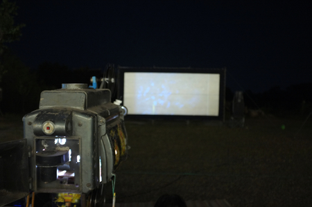 Thailand old analog rotary film movie projector at outdoor cinema movies theater for show people in the Park