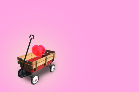 Heart in little red wood wagon with free space for text input, logo, etc. Concept Valentine DAY , I love you .