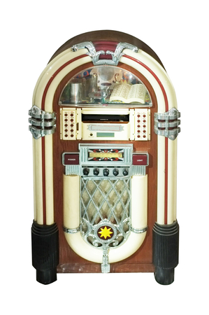 Old jukebox music player isolated on white background . Concept music Foto de archivo