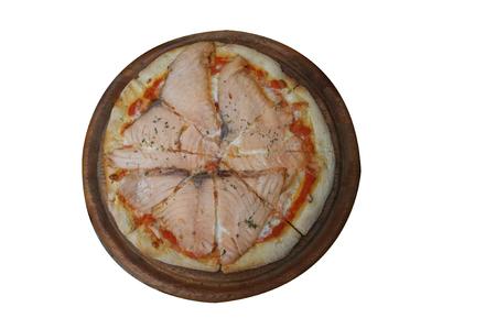 Smoked salmon pizza on white background Stockfoto