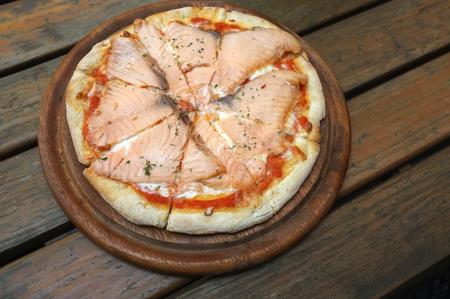"Smoked salmon pizza  at ""The Village Farm to Café� kanchanaburi-saiyok Kanchanaburi ,Thailand"