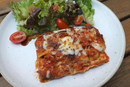 "delicious meat lasagna at ""The Village Farm to Café� kanchanaburi-saiyok Kanchanaburi ,Thailand"