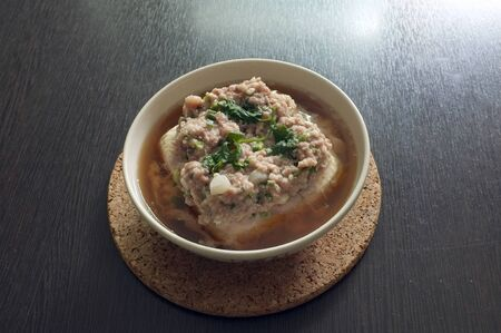 Steamed tofu topping  with Minced pork , Thai fusion food