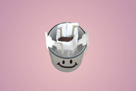 Cute facial emotion smile on a cup of coffee , Concept Refreshment and relaxation happy  .