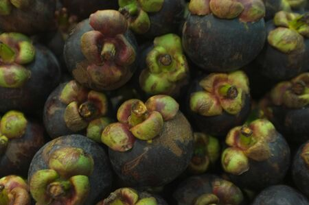 Mangosteen fruit for sale at an outdoor market. Stockfoto
