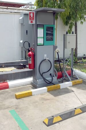 Electric vehicle charging station in thailand. Stockfoto