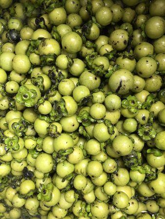 Fresh and ripe ebony fruit the Thai native silk or fabric dyeing