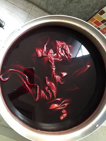Natural red and pink  cotton dyeing process for sealing lac , thailand